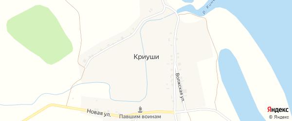 Речная улица на карте деревни Криуш с номерами домов