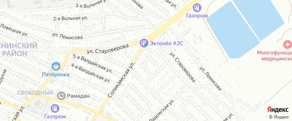 Соликамский 1-й переулок на карте Астрахани с номерами домов