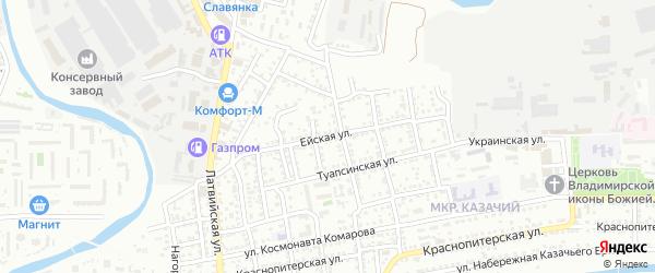 Ейская улица на карте Астрахани с номерами домов