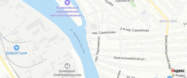 Капустиноярская улица на карте Астрахани с номерами домов
