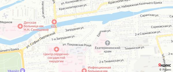 Инициативный переулок на карте Астрахани с номерами домов