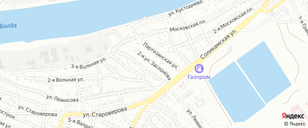 Заслонова 2-я улица на карте Астрахани с номерами домов