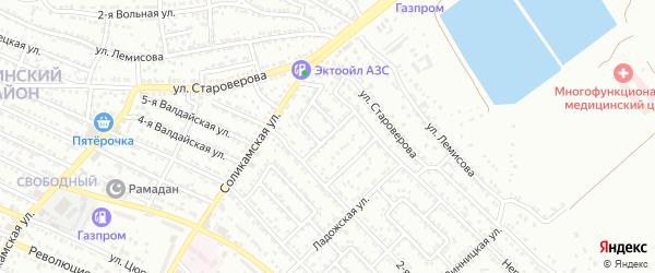 Соликамский 2-й переулок на карте Астрахани с номерами домов