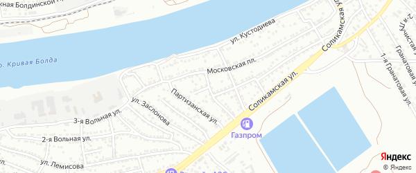 Московский 2-й переулок на карте Астрахани с номерами домов