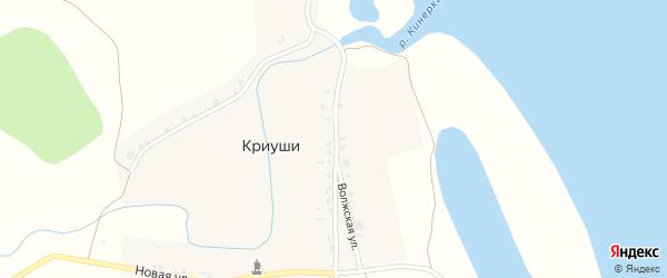 Волжская улица на карте деревни Криуш с номерами домов