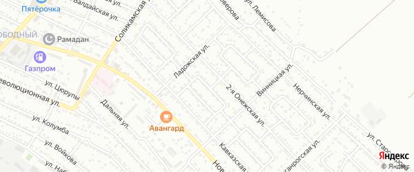 Улица Кавказская 3-й проезд на карте Астрахани с номерами домов