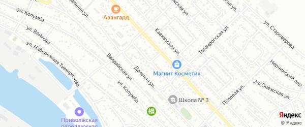 Новороссийская 1-я улица на карте Астрахани с номерами домов