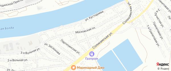 Перекопский 2-й переулок на карте Астрахани с номерами домов