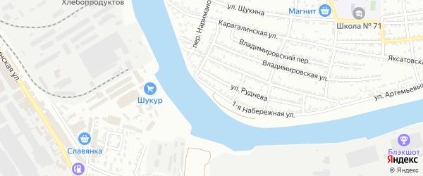 Набережная 1-я улица на карте Астрахани с номерами домов