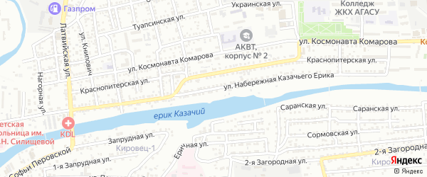 Улица Набережная Казачьего ерика на карте Астрахани с номерами домов