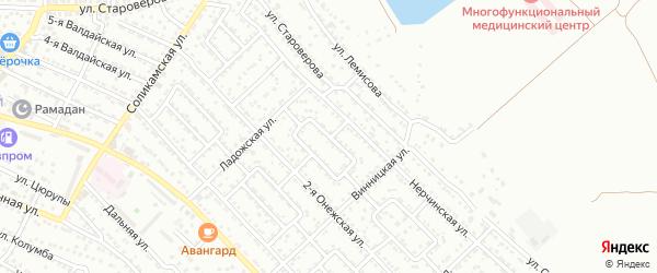 Целинная улица на карте Астрахани с номерами домов