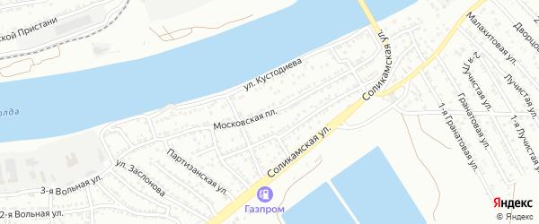 Московская площадь на карте Астрахани с номерами домов