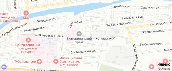 Загородный 2-й переулок на карте Астрахани с номерами домов