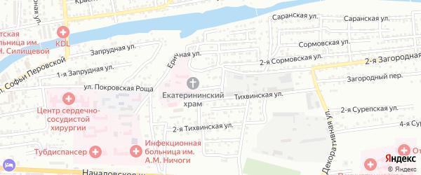 Загородный переулок на карте Астрахани с номерами домов
