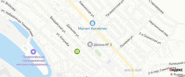 Новороссийский переулок на карте Астрахани с номерами домов