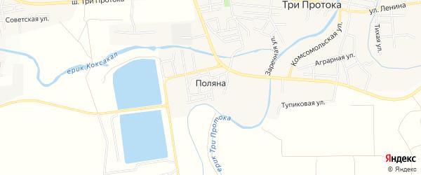 Карта поселка Поляны в Астраханской области с улицами и номерами домов