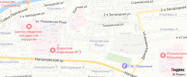 Тихвинская 2-я улица на карте Астрахани с номерами домов