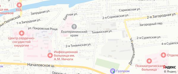 Минусинский 1-й переулок на карте Астрахани с номерами домов