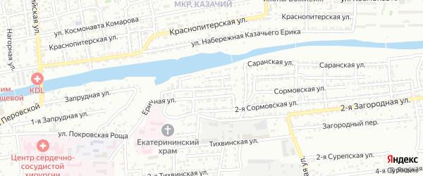 Сормовский переулок на карте Астрахани с номерами домов
