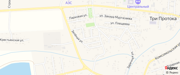 Улица Строителей на карте села Три Протоки с номерами домов