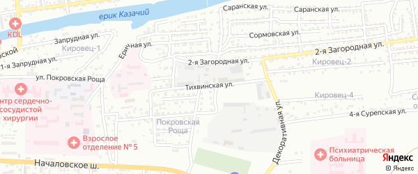 Тихвинская улица на карте Астрахани с номерами домов
