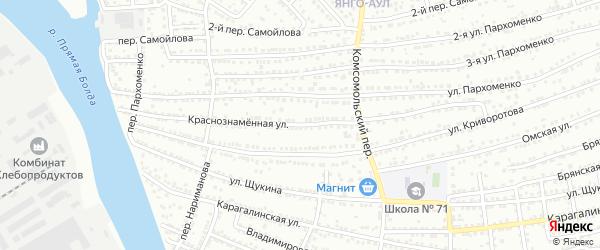 Краснознаменная улица на карте Астрахани с номерами домов