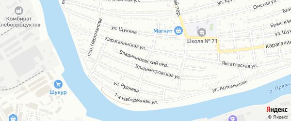 Переулок Пришвина на карте Астрахани с номерами домов
