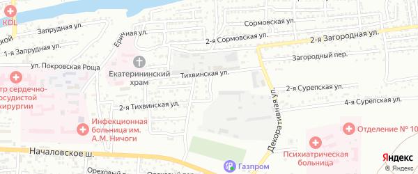 Минусинский 2-й переулок на карте Астрахани с номерами домов