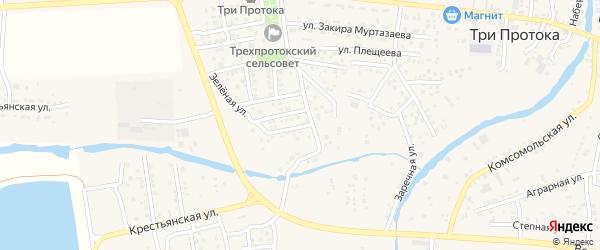 Зеленая улица на карте села Три Протоки с номерами домов