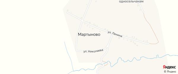 Школьная улица на карте деревни Мартыново с номерами домов