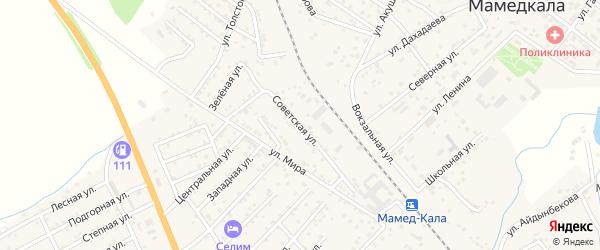 Советская улица на карте поселка Мамедкалы с номерами домов