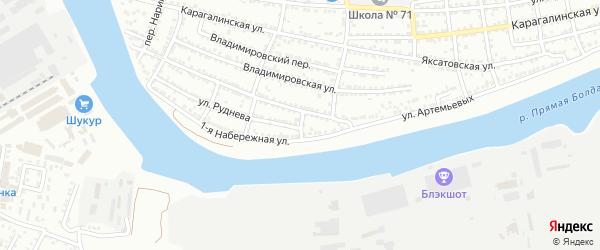 Переулок Артемьевых на карте Астрахани с номерами домов