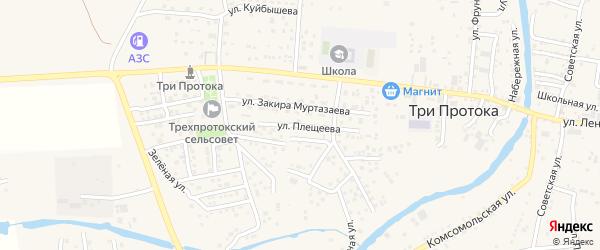 Улица Плещеева на карте села Три Протоки с номерами домов
