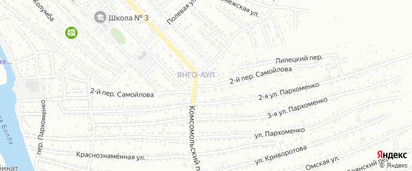 Ровный 2-й переулок на карте Астрахани с номерами домов