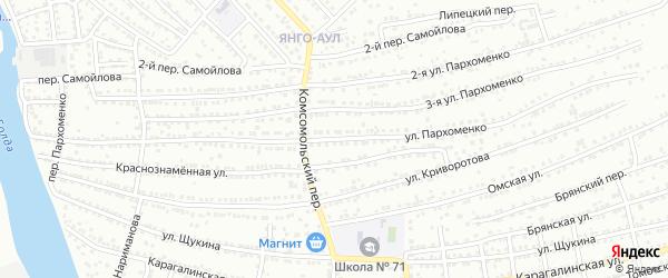 Улица Пархоменко на карте Астрахани с номерами домов
