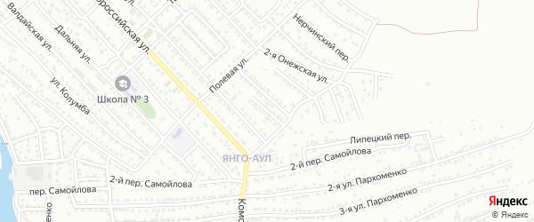 Аксарайский переулок на карте Астрахани с номерами домов