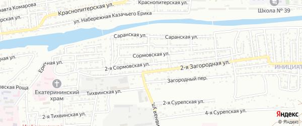 Сормовская 2-я улица на карте Астрахани с номерами домов