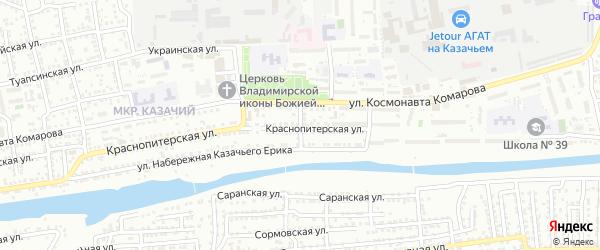 Аджарский переулок на карте Астрахани с номерами домов