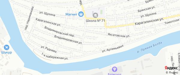Яксатовский переулок на карте Астрахани с номерами домов