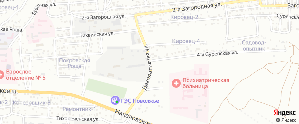 Декоративная улица на карте Астрахани с номерами домов