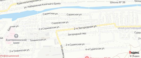 Загородная 2-я улица на карте Астрахани с номерами домов