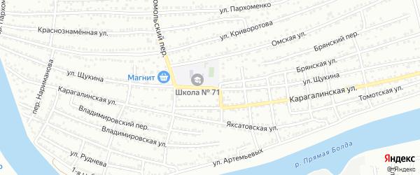 Улица Щукина на карте Астрахани с номерами домов