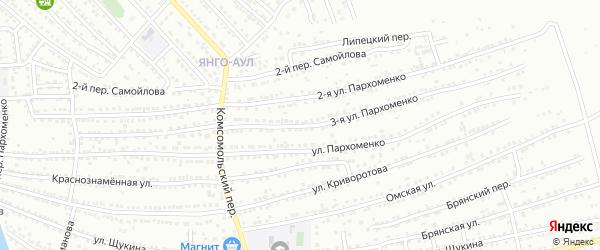Пархоменко 3-я улица на карте Астрахани с номерами домов