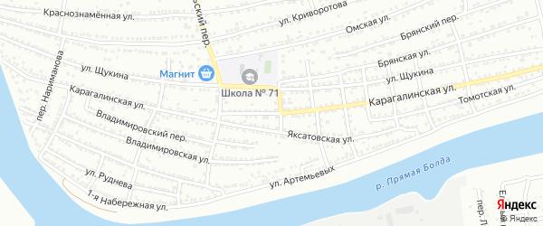 Карагалинская улица на карте Астрахани с номерами домов