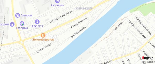 Улица Надзянова на карте Астрахани с номерами домов