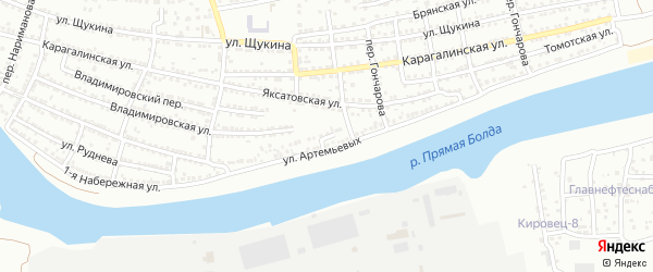 Тупиковый переулок на карте Астрахани с номерами домов