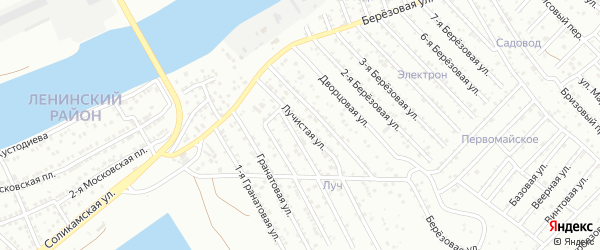 Лучистая улица на карте Астрахани с номерами домов