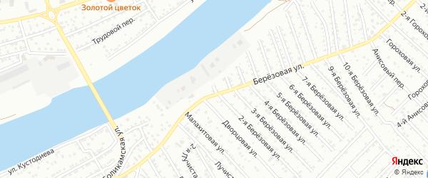 Березовый 17-й переулок на карте Астрахани с номерами домов