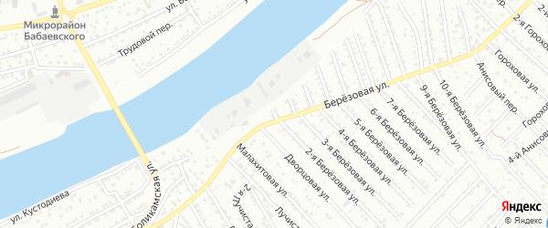 Березовый 12-й переулок на карте Астрахани с номерами домов