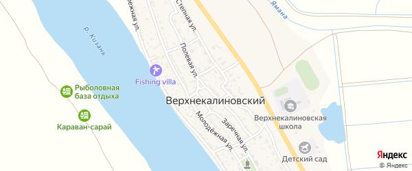 Полевая улица на карте Верхнекалиновского поселка с номерами домов